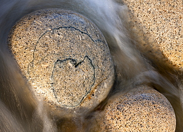 Heart shaped pattern on a circular granite boulder, Porth Nanven, Cornwall, England, United Kingdom, Europe