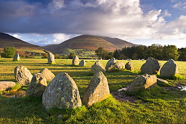 Castlerigg Stone Circle with Blencathra mountain behind, Lake District National Park, Cumbria, England, United Kingdom, Europe
