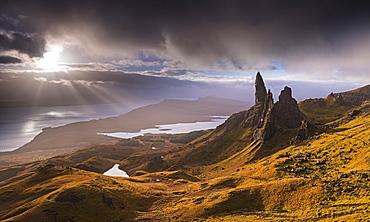 Dramatic autumn light on the Old Man of Storr, Isle of Skye, Inner Hebrides, Scotland, United Kingdom, Europe