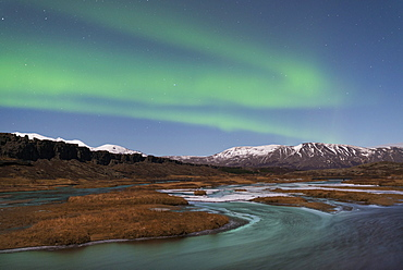 Aurora Borealis over Thingvellir, the ancient site of the Icelandic Parliament, Thingvellir National Park, UNESCO World Heritage Site, Iceland, Polar Regions