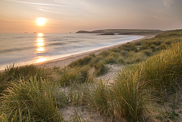 Sunset over Constantine Bay in North Cornwall, England, United Kingdom, Europe