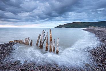 Wooden sea defences at Bossington Beach, Exmoor, Somerset, England, United Kingdom, Europe