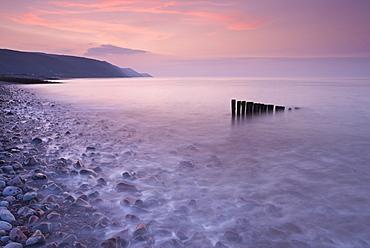 High tide at Bossington Beach at sunset, Exmoor, Somerset, England, United Kingdom, Europe