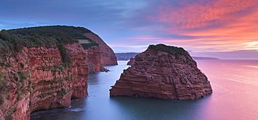 Dawn skies above Ladram Bay, Jurassic Coast, UNESCO World Heritage Site, Devon, England, United Kingdom, Europe