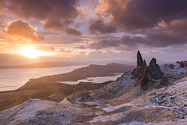 Spectacular sunrise over the Old Man of Storr, Isle of Skye, Inner Hebrides, Scotland, United Kingdom, Europe