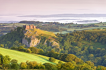 Ruins of Carreg Cennen Castle at dawn in the summer, Brecon Beacons, Carmarthenshire, Wales, United Kingdom, Europe