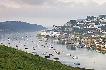 Misty morning over Salcombe viewed from Snapes Point, South Hams, Devon, England, United Kingdom, Europe