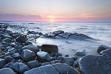 Sunset over the Bristol Channel from Kilve Beach, Somerset, England, United Kingdom, Europe