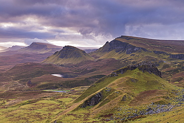 Dawn over the Trotternish mountain range, viewed from the Quiraing, Isle of Skye, Inner Hebrides, Scotland, United Kingdom, Europe