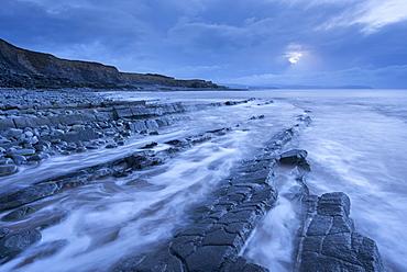 Stormy evening at Kilve Beach on the Somerset Coast, Somerset, England, United Kingdom, Europe