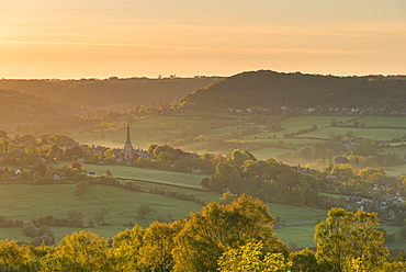 Picturesque Cotswolds village of Painswick at dawn, Gloucestershire, England, United Kingdom, Europe