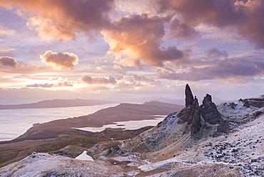 Winter sunrise above the Old Man of Storr on the Isle of Skye, Inner Hebrides, Scotland, United Kingdom, Europe