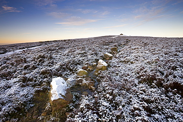 A light dusting of snow covers the moorland at Dunkery Beacon, Exmoor National Park, Somerset, England, United Kingdom, Europe