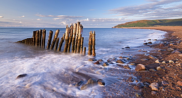 Wooden sea defences at Porlock Bay in Exmoor National Park, Somerset, England, United Kingdom, Europe