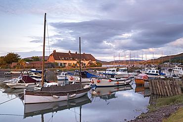 Boats moored in Porlock Weir Harbour in summer, Exmoor, Somerset, England, United Kingdom, Europe