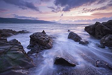 Sunset over Porlock Bay, Exmoor National Park, Somerset, England, United Kingdom, Europe