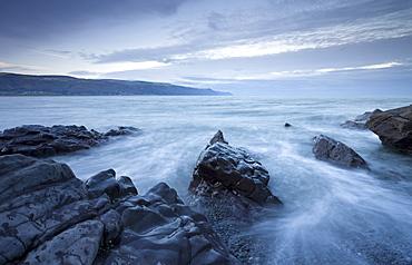 Rocky shore at Bossington Beach, Exmoor National Park, Somerset, England, United Kingdom, Europe