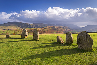 Magalithic standing stones forming part of Castlerigg Stone Circle in the Lake District National Park, Cumbria, England, United Kingdom, Europe