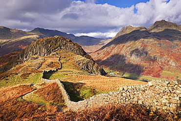 Drystone wall on Lingmoor Fell looking towards Side Pike and the Langdale Valley in autumn, Lake District National Park, Cumbria, England, United Kingdom, Europe