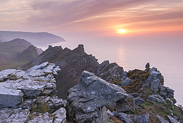 Sunset over the Valley of Rocks in Exmoor National Park, Devon, England, United Kingdom, Europe