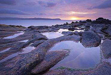 Sunrise over Hvitanes on the island of Streymoy, Faroe Islands, Denmark, Europe