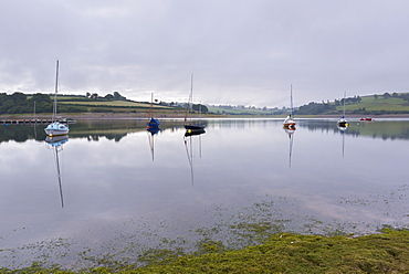 Yachts in Wimbleball lake on a misty morning, Exmoor National Park, Somerset, England, United Kingdom, Europe