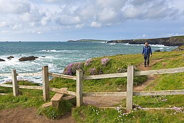 Man walking the South West Coast Path near Trevose Head, Cornwall, England, United Kingdom, Europe