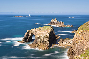 Enys Dodnan, the Armed Knight and Longships Lighthouse, off the coast of Land's End, Cornwall, England, United Kingdom, Europe