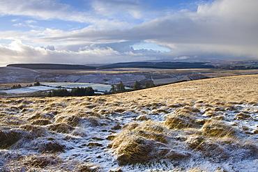 Snow dusted landscape near Chagford Common, Dartmoor National Park, Devon, England, United Kingdom, Europe