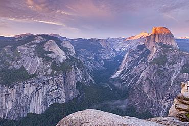 Last light on Half Dome above Yosemite Valley, Yosemite National Park, UNESCO World Heritage Site, California, United States of America, North America