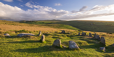 The Nine Maidens megalthic stone circle on Belstone Common in summer, Dartmoor National Park, Devon, England, United Kingdom, Europe