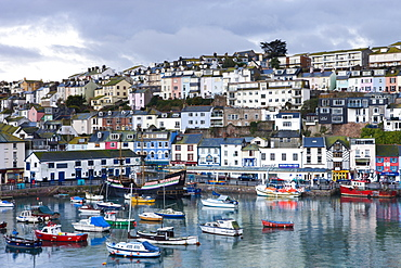 Fishing vessels and small yachts accompany the Golden Hind, at anchor in Brixham Harbour, South Devon, England, United Kingdom, Europe