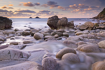 Porth Nanven cove and The Brisons, Cornwall, England, United Kingdom, Europe