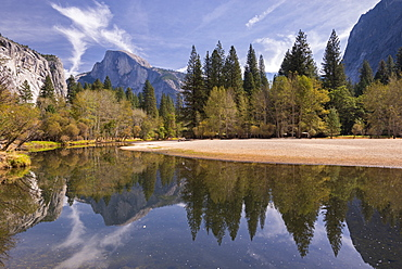 Half Dome reflected in the still waters of the Merced River, Yosemite Valley, UNESCO World Heritage Site, California, United States of America, North America
