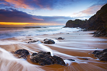 High tide water trails on Shippen beach at Hope Cove, South Hams, Devon, England, United Kingdom, Europe - 799-317