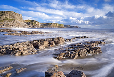 The Gower Peninsula's rugged and rocky coastline from Fall Bay, Gower, Wales, United Kingdom, Europe