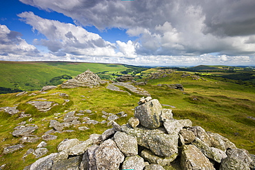 Stone cairns on the summit of Chinkwell Tor, Dartmoor National Park, Devon, England, United Kingdom, Europe
