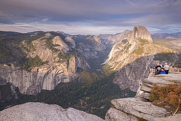 Tourists appreciating the view of Yosemite Valley from Glacier Point, UNESCO World Heritage Site, California, United States of America, North America