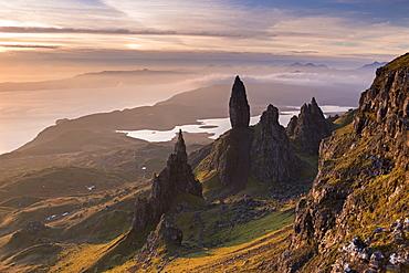 Beautiful morning light over the Old Man of Storr on the Isle of Skye, Inner Hebrides, Scotland, United Kingdom, Europe