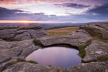Kestor Rock at sunrise, Dartmoor National Park, Devon, England, United Kingdom, Europe