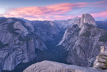 Sunset above Yosemite Valley and Half Dome, viewed from Glacier Point, Yosemite National Park, UNESCO World Heritage Site, California, United States of America, North America