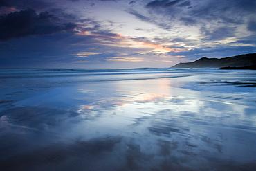 Twilight off Combesgate Beach, Devon, England, United Kingdom, Europe