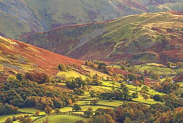 Rural farmland below Cumbrian mountains, Martindale, Lake District, Cumbria, England, United Kingdom, Europe