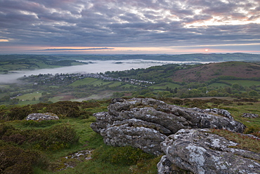 Moody sunrise over the village of Chagford in Dartmoor National Park, Devon, England, United Kingdom, Europe
