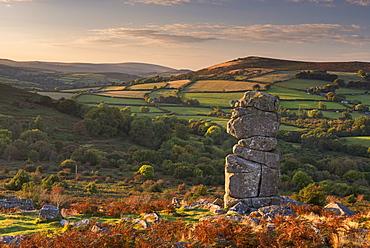 Bowerman's Nose granite pillar on Hayne Down in autumn, Dartmoor, Devon, England, United Kingdom, Europe