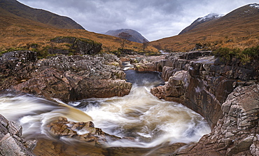 Fast flowing River Etive rushing through Glen Etive in the Scottish Highlands, Scotland, United Kingdom, Europe
