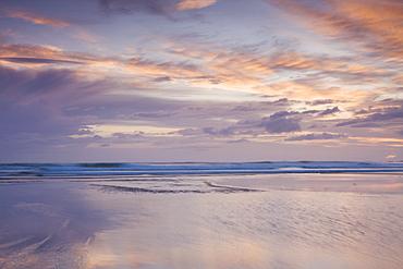 Pastel sunset off Combesgate Beach, Devon, England, United Kingdom, Europe