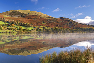 Autumnal reflections on Loweswater in the Lake District National Park, Cumbria, England, United Kingdom, Europe