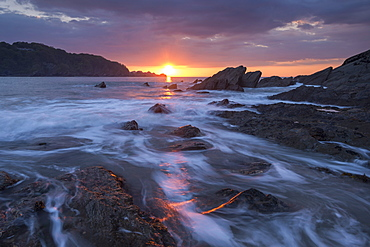 Sunset over Combe Martin in Exmoor National Park, Devon, England, United Kingdom, Europe
