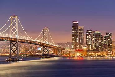 Oakland Bay Bridge and city skyline at night, San Francisco, California, United States of America, North America